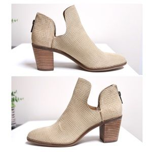 Lucky Brand Open Side Stacked Heel Ankle Booties